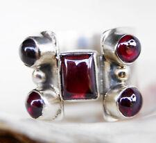 Breit 1,6 cm Silberring 55 Granat Rot Modern Handarbeit Silber Ring Massiv