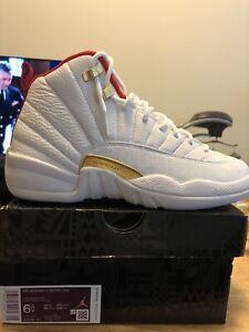 Jordan 12 Retro FIBA Size 6.5y GS 153265-107 White Red Gold Pre Owned