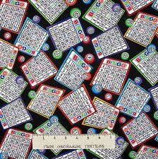 Bingo Fabric - Game Cards & Balls Toss Black - Timeless Treasures YARD