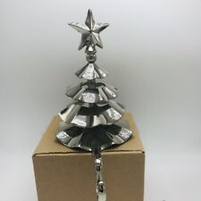 Stocking Holder Hanger Silver Tone Chrome Layered Christmas Tree 3 D 8 Inches