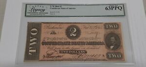 1864 $2 Two Dollar Bill Confederate Note T-70 Legacy Choice New 63 PPQ