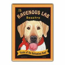 Retro Pets Refrigerator Magnet - The Ravenous Lab Beastro (Bistro), Yellow Lab