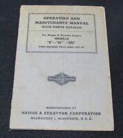 ORIG Briggs Stratton Operating Maintenance Manual Model B-BF-BRG Parts Catolog