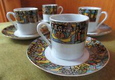 SET 4 Ethiopian Art  Espresso Cups & Saucers  FINE PORCELAIN EXCELLENT!