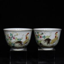8cm Marked Chinese Famille Rose Porcelain Animal Rooster Cock Flower Bowl Pair