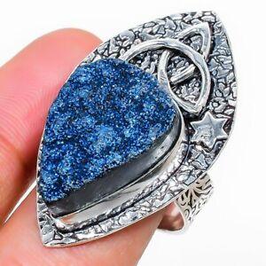Titanium Druzy Handmade Gemstone Ethnic Gift Jewelry Ring Size 8.5 V109