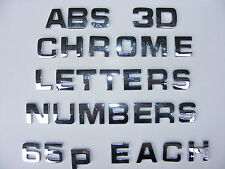 *65p EACH * 3D TOP QUALITY ADHESIVE CAR CHROME LETTERS + NUMBERS,  2 for £1.30