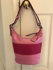 COACH F13357 Pink Striped Rugby Leather Duffel Bucket Tote Handbag Gorgeous!!