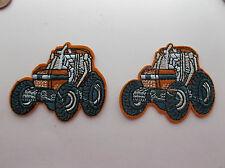 Orange Tractor Iron/Sew on Patches x 2