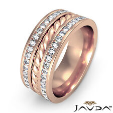Pave Diamond Rope Eternity 9.5mm Mens Wedding Band Ring 14k Rose Gold 1.75 Ct.