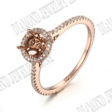 Round 6-6mm Semi Mount 14k Rose Gold Solitaire With Accents Diamond Weeding Ring
