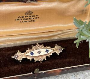 Fine Rare Victorian 9ct Gold, Diamond And Sapphire Set Bar Brooch Pin 4.5g