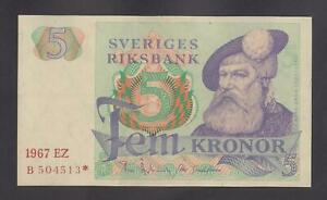 SWEDEN  5 Kronor 1967 EZ   aUNC   P51   Serial number  B504513*   Replacement