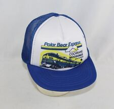 Vintage Polar Bear Express Railroad Train Snapback Mesh Trucker Cap Hat Blue