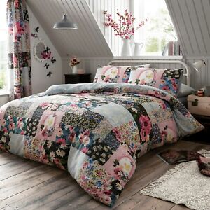 Luxury Ellis Floral Patchwork Modern Style Duvet Covers Reversible Bedding Sets