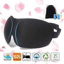 3D Eye Comfort Sleep Mask with Ear Plugs Travel Case Eyeshades Sleeping Black