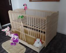 Lit Bébé à Barreaux 140x70 Tiroir Enfant Lot Convertible Massif Gravure Neuf