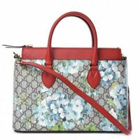 Gucci women's GG Supreme Canvas Red Leather Blooms Blue Floral Satchel 546316