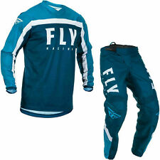 """Fly Racing 2020 F-16 Motocross Jersey & Pants Blue White Kit MX 28"""" Small"""