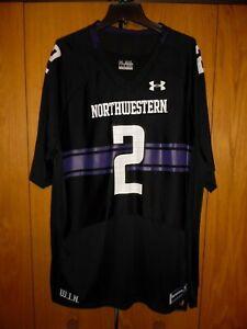 NORTHWESTERN WILDCATS UNDER ARMOUR Mens 2XL black/purple #2 football jersey NEW