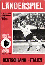 Länderspiel 08.10.1977 Deutschland - Italien in Berlin