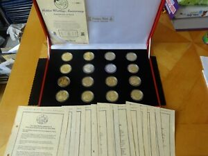 1997 16 X FULL SILVER PROOF COIN BOX SET +ALL COAS GOLDEN WEDDING POBJOY MINT