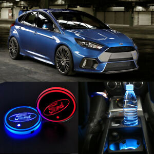 2x RGB For Ford Fiesta Focus kuga LED Lights Cup Holder Accessories Decoration