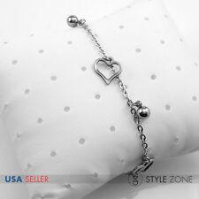 Women Stainless Steel Hollow Heart Ball Bead Charm o Link Chain Bracelet HOT B76