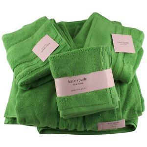 Kate Spade Green Bath Hand Towel Washcloth 8 Pc Bathroom Set