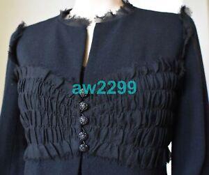 CHANEL 04P 2 PIECE TULLE DRESS AND JACKET SET BLACK FR40-38 JEWELED CC LOGO MINT