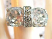 VINTAGE EISENBERG ICE RHINESTONE GLASS RING 1940'S ADJUSTABLE BAND RARE MARK