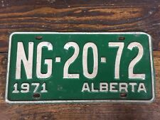 Vtg 1971 Alberta License Plate NG 20 72 Vehicle Tag AB Canada Green White