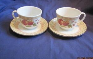 JOHNSON BROTHERS FRUIT SAMPLER 2 x TEA CUPS AND SAUCERS VGC