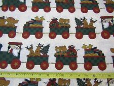 Christmas Folk Art Quilt Fabric Elephants Bears Giraffes Reindeer Train 1.75 YDS