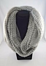 Pale beige knit infinity scarf bulky loop head wrap snood