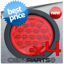 """4X NEW 4"""" ROUND TRUCK TRAILER RED LED LIGHT STOP TURN TAIL 19-DIODE 12v USA RV"""