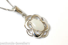 """9ct White Gold Opal Celtic Pendant and 18"""" Chain Made in UK Gift Boxed"""