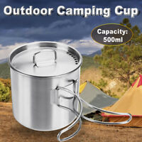 500ml Stainless Mug Cup with Lid Folding Handle Outdoor Camping Cooking Pot