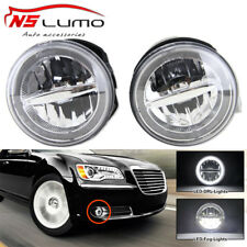 2x Led Halo Fog Lights Assembly Pair w/ DRL Fits Chrysler 300 300C Sedan 4D Srt8