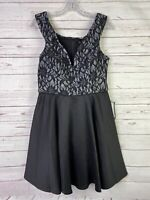 Womens Juniors City Studio Black Lace Mini Party Dress Size 11 Fit n Flare NWT
