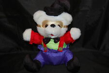 "Gold Mask White Teddy Bear Red Purple Black Mardi Gras Sequined  Plush 13"" Toy"