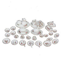 50pcs Dollhouse Miniature Dining Room Porcelain Tea Set Dish Cup Pink Daisy