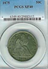 1875 Seated Liberty Half Dollar : PCGS XF40
