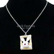 Gold & Silver Alice In Wonderland Ruby Eye March Hare Rabbit Frame Necklace H6
