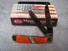 """W R CASE ORANGE CORAL MOTHER OF PEARL EXOTIC TRAPPER 4 1/8""""  11104 NIB SS BLADES"""