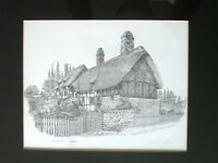 Ann Hathaway's Cottage Anthony John Signed Pencil Drawing Print Matted