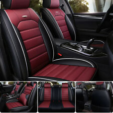 Burgundy Car Seat Cover Full Set Front Rear Cushion Protector Universal Fit 13pc