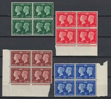 GREAT BRITAIN 1940 SG #479-481, #483 MH BLOCKS OF 4 WITH SELVEDGE
