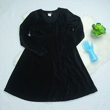 Vtg 90s Black Crushed Velvet Babydoll Mini Dress Grunge Gothic Striped M A1202