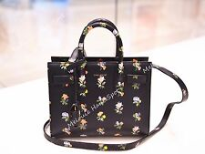 SAINT LAURENT PARIS SAC DE JOUR  BLACK MULTICOLOR PRAIRIE FLOWER CROSS TOTE BAG